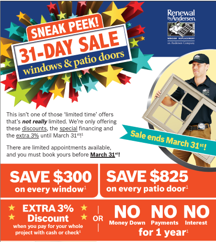 31 Day (Sneak Peek) Sale at Renewal by Andersen